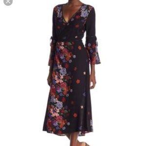 Dance & Marvel Floral Bell Sleeve Midi Wrap Dress